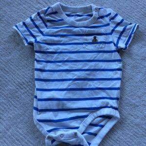 GAP Baby Boy Blue White Striped Bodysuit Top Shirt
